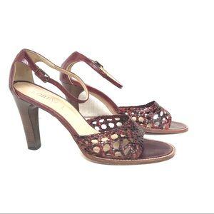J. Crew Braided Brown Leather Sandals, Heels, 8